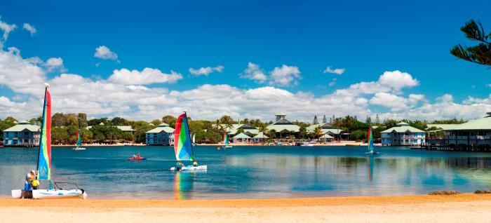 Sailing across the Twin Waters Lake from the Novotel Twin Waters, Sunshine Coast