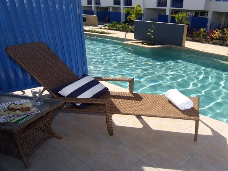 Coolangatta beach chair waiting for you to come along and relax by the pool.