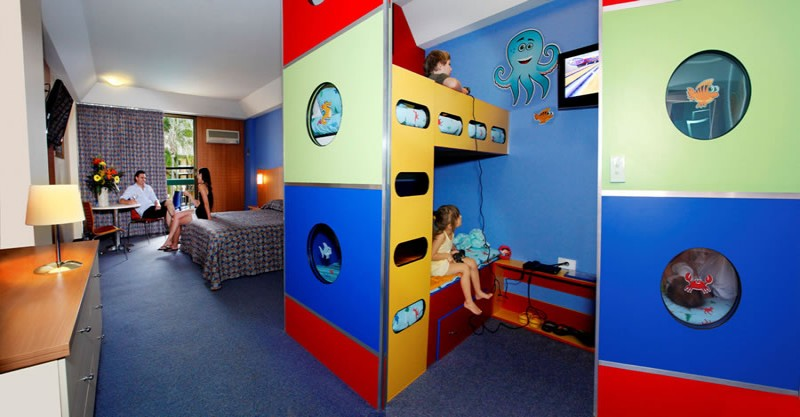 Colourful and fun bunk beds for the kids at Paradise Resort, Surfers Paradise.
