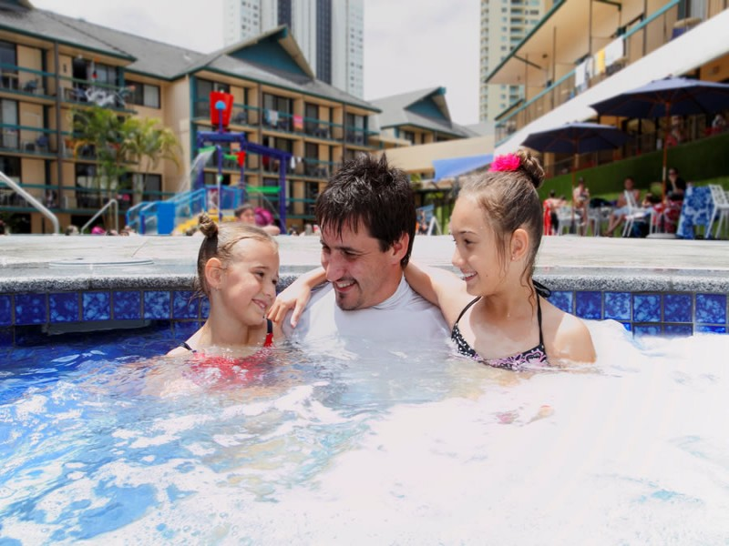 Father with two daughters in the Paradise Resort Spa enjoying their holiday!