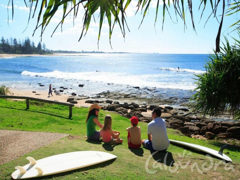 Family with Surf Board on Caloundra beach grass area watching the surf.