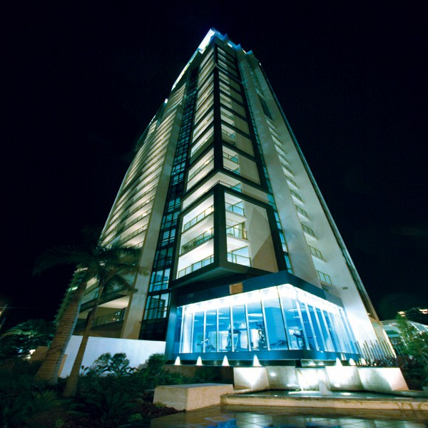 Night Shot of Artique Resort Building.