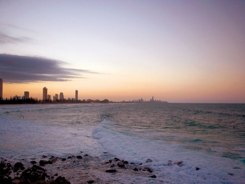 Coolangatta Beaches at Sunset with a Purple and Pink Skyline view - Discover Queensland