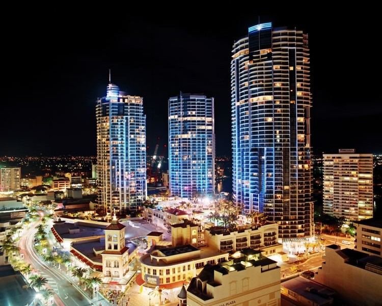 Mantra Towers of Chevron formerly Towers of Chevron Renaissance Nighttime View | Discover Queensland