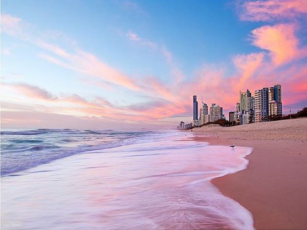 Surfers Paradise Beach at Sunset by @sueblackphotos - Discover Queensland