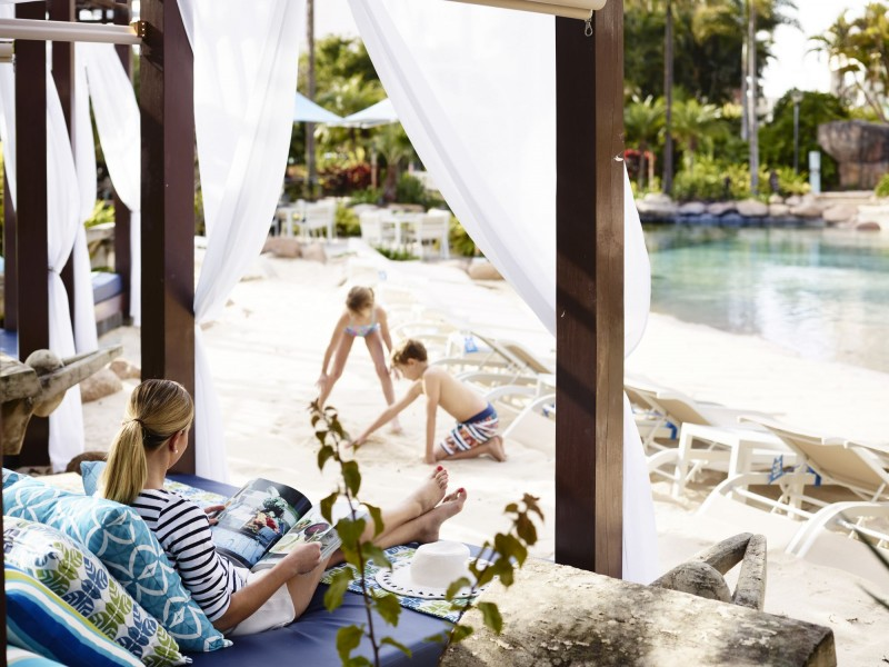 Cabana Lounges lining the lagoon pool and freshwater pool - Hightide holidays