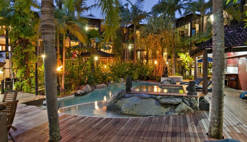 Hibiscus Resort & Spa Outdoor Pool at Night - Discover Queensland