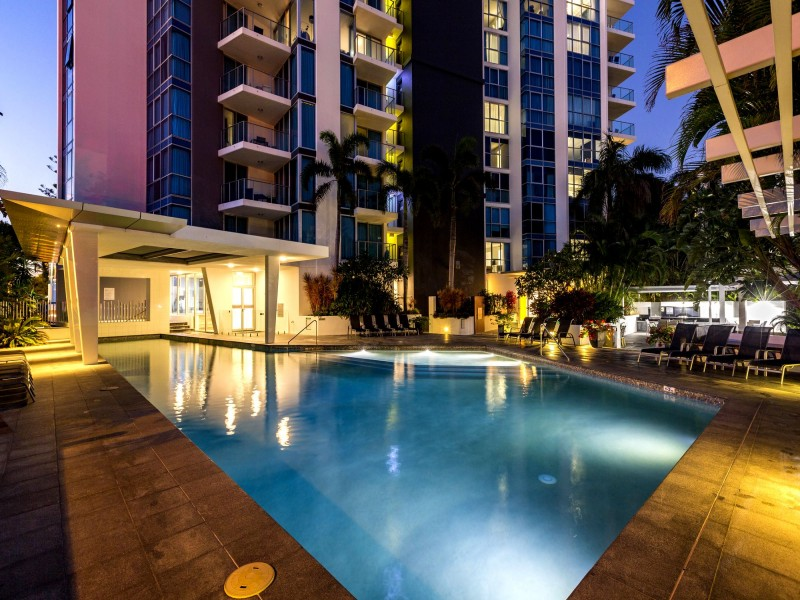 Artique Resort Pool at Night in Surfers Paradise - Discover Queensland
