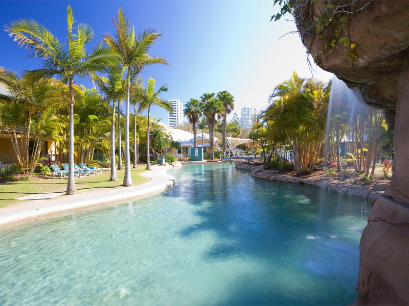 Breakfree Diamond Beach Lagoon Pool area with Waterfalls   Discover Queensland