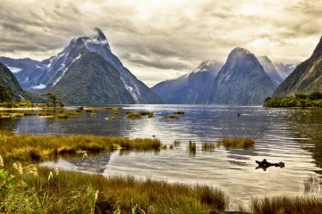 Milford Sound Lake with Mountain Peaks hidden by Clouds - Queenstown Holidays