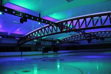 Queenstown Ice Arena Lit up Blue and Purple - Queenstown Holidays