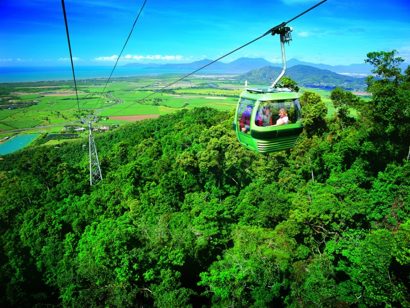 Skyrail Rainforest Cableway - Cable cars taking passengers over hinterland | Discover Queensland