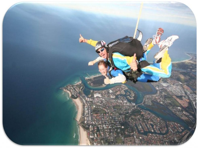 Person skydiving at Coolangatta - view of the coolangatta coastline.