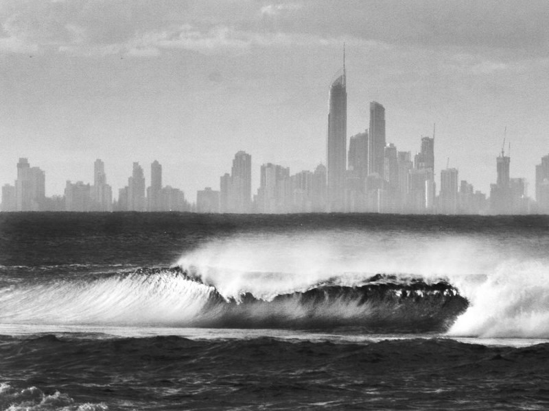 Black and White image of Coolangatta beaches looking across to the Surfers Paradise Coastline.