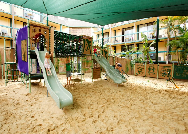 Paradise Resort Playground and slides on the sandpit.