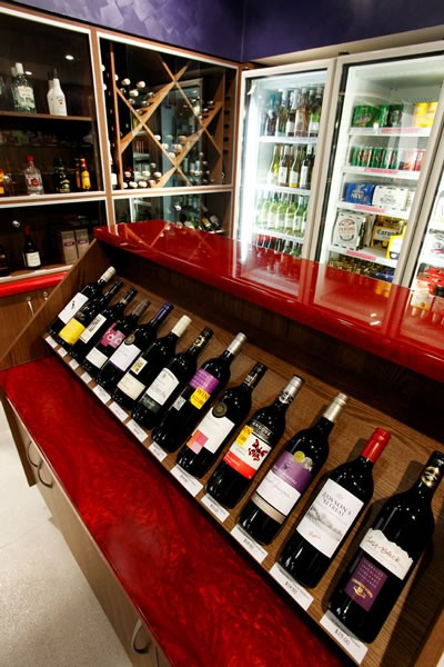 Wine selection in the onsite bottle shop at Paradise Resort