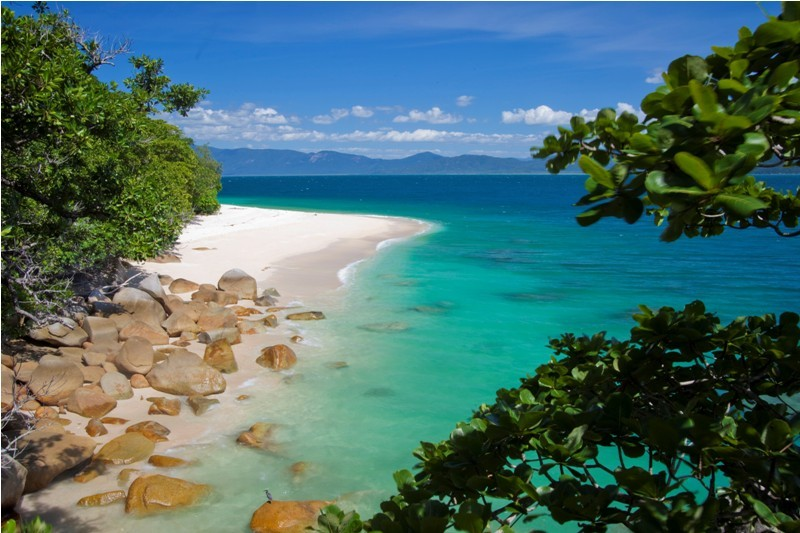 Fitzroy Island white sand beach with beautiful blue waters and luscious green trees.