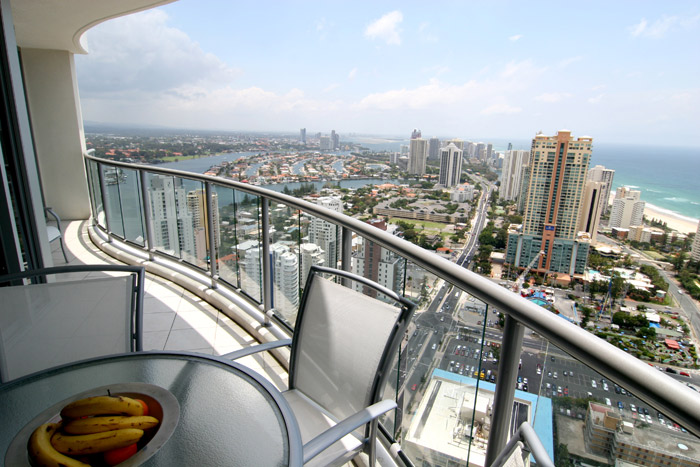 View from the balcony of the Chevron Renaissance Towers building out to Gold Coast beaches.