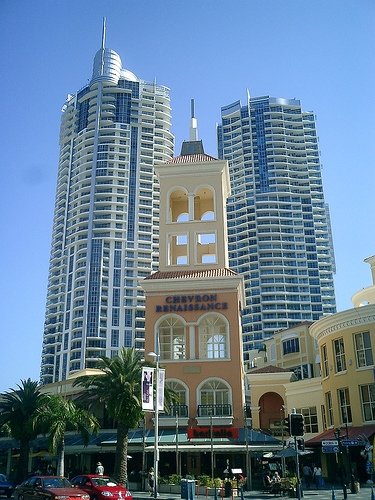 Street view of the Chevron Renaissance in Surfers Paradise.