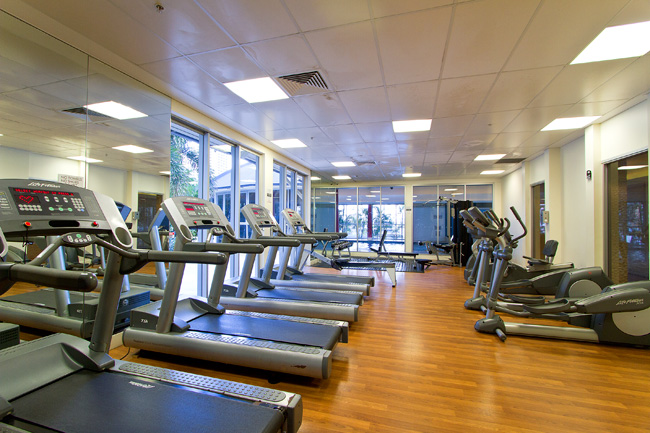 Chevron Renaissance fully equipped gym with life fitness equipment.
