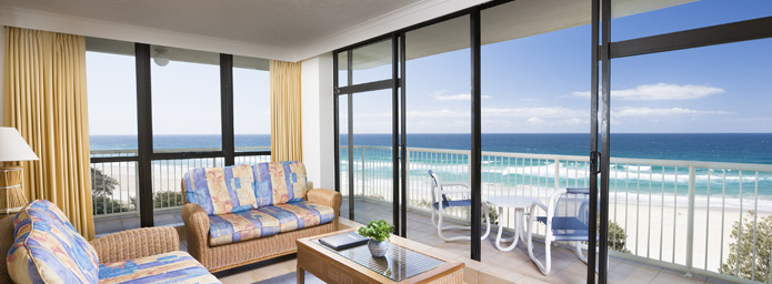 Breakfree Beachpoint resort room with beach view.