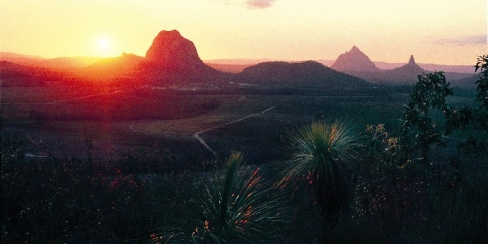 Sun set over the glass house mountains.