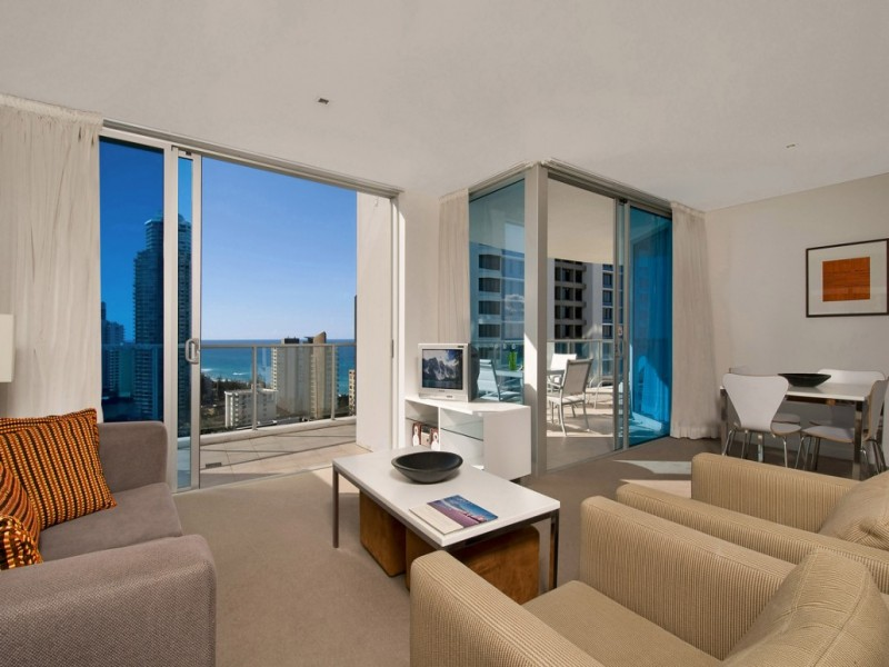 Artique Resort room with balcony and view of Surfers Paradise.