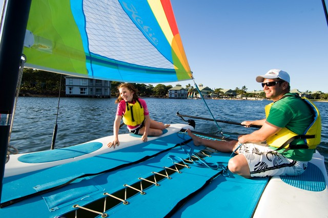 The Sebel Twin Waters Guests enjoying complimentary use of Catamarans - Discover Queensland