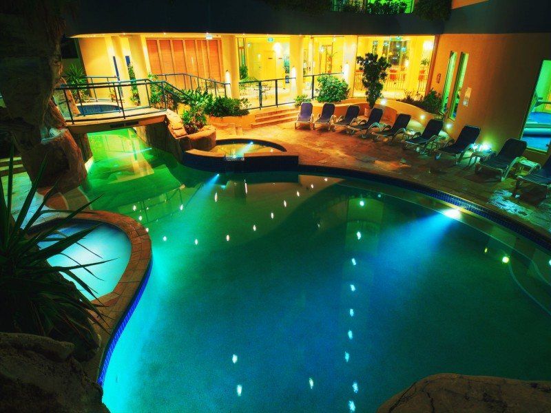 Landmark Resort Pool at Night - Discover Queensland