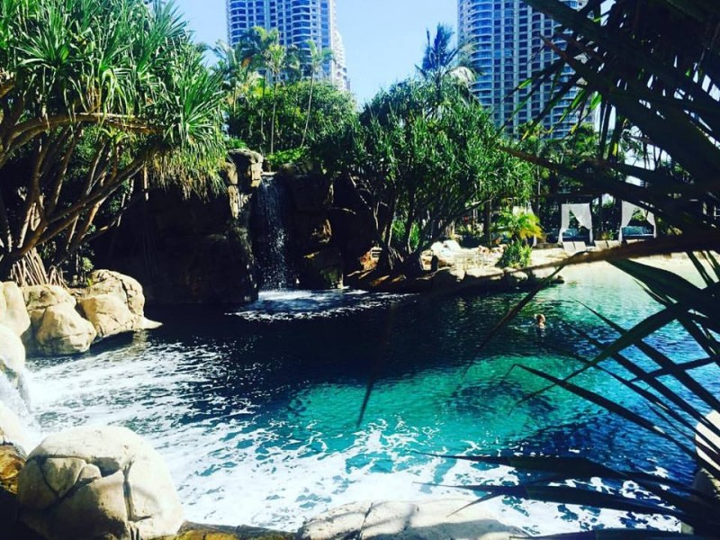 The lagoon pool and waterfall at Marriott Vacation Club at Surfers Paradise | Discover Queensland