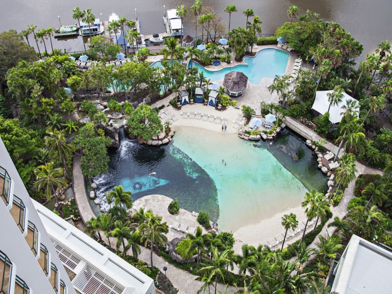 Marriott Vacation Club - Lagoon Pool from an Aerial Perspective | Discover Queensland