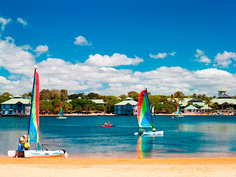 Catamaran Sailing on The Twin Waters Lake on the Sunshine Coast | Discover Queensland
