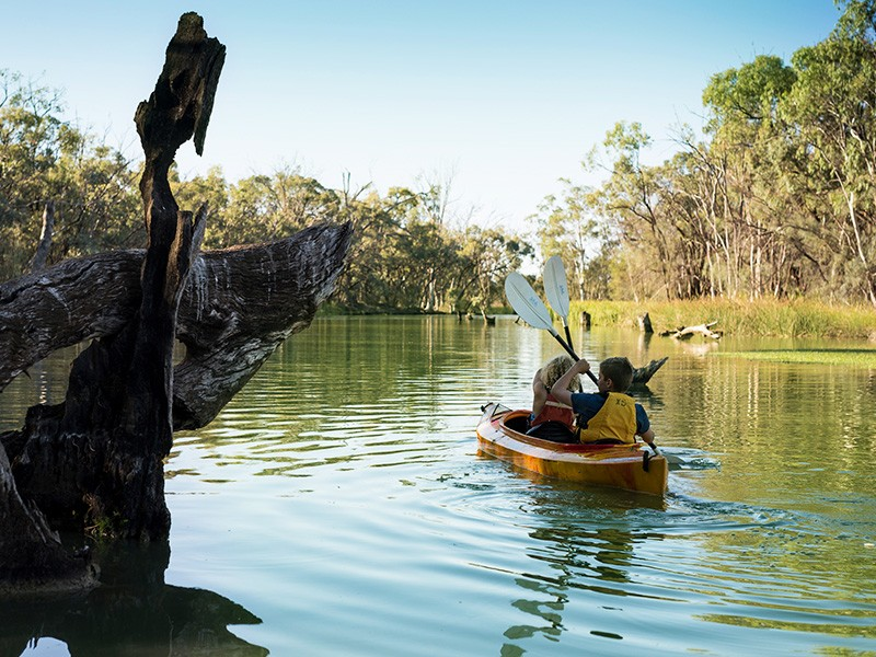 Kayaking in the Murray River, Image by Visit Victoria | 5 Ways to Travel the Murray River (and what to do along the way!) | Discover Victoria