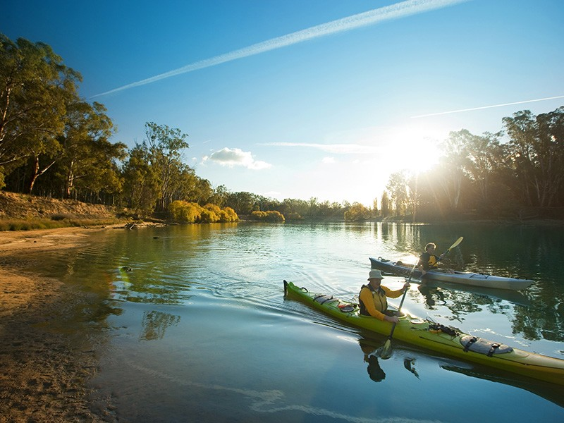 Kayaking on the Murray River | Image via Visit Victoria | The Best Active Holiday Activities in the Victoria High Country | Discover Victoria