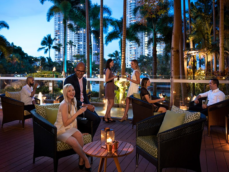 Chapter & Verse Lounge & Bar outdoor seating area at Surfers Paradise Marriott | Discover Queensland