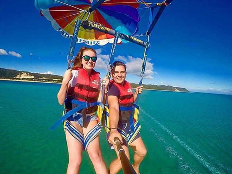 Parasailing | Image by @victoriasunflowers | Top 30 Things to do at Tangalooma Island Resort on Moreton Island | Discover Queensland