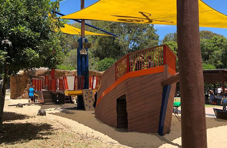 Pirate Park next to Currumbin Creek by @kidsfunonthegoldcoast | Best Gold Coast Beaches for Families with Young Children | Discover Queensland