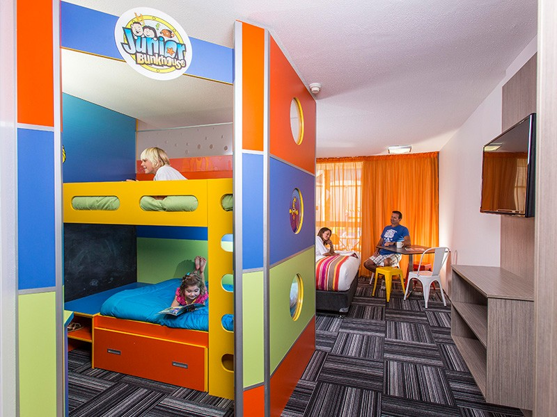 The colourful Junior Bunkhouse Gold Coast Family Holiday Room at Paradise Resort - Discover Queensland