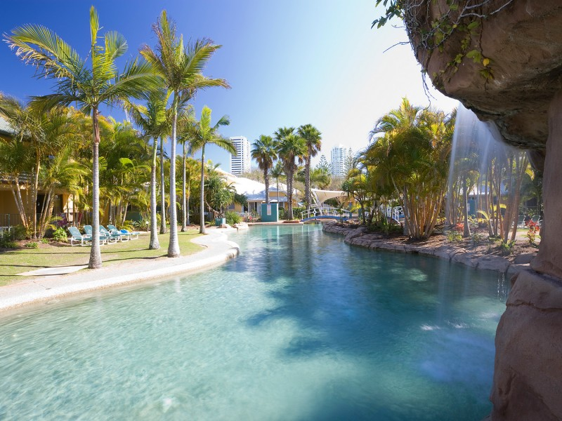 BreakFree Diamond Beach Lagoon Pool with Waterfall and Spas  | Dive Into the Gold Coast's Best Resort Pools | Discover Queensland