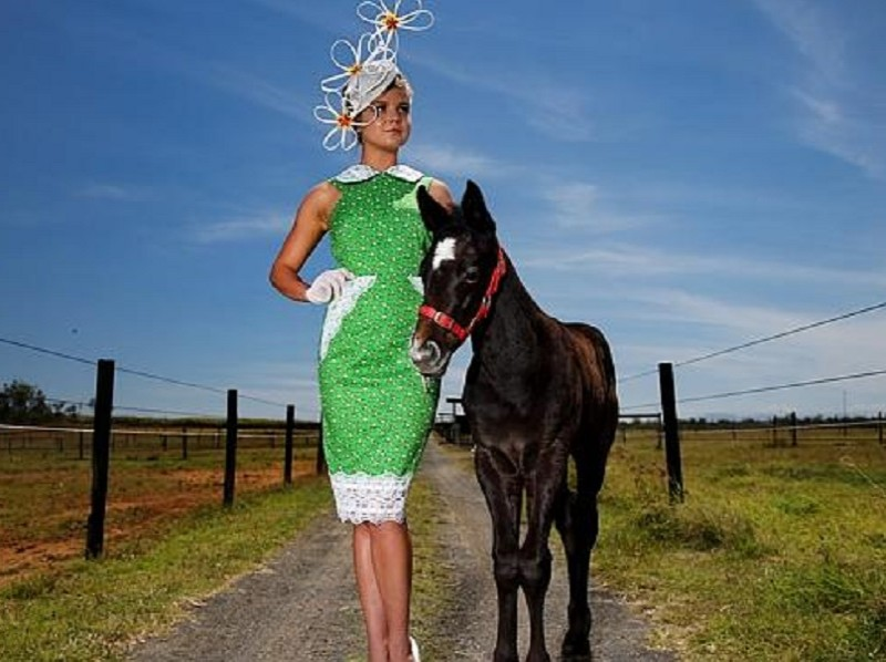 Gracyn Marsterson modeling a Sonlia Fasion outfit with Clyde the one month old foal ahead of the Cairns Amateurs - Discover Queensland