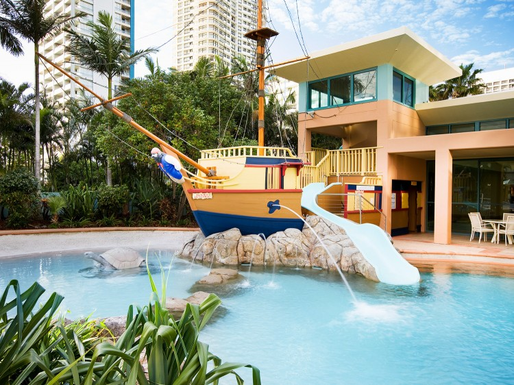 Kids Pool with Waterslide and Pirate Ship