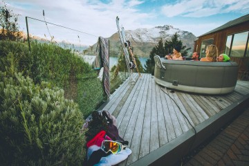 Relaxing in a Spa after a hard day snow boarding from Spa Hire Queenstown - Queenstown Holidays